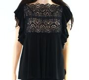 Red Valentino New Black Womens Size Large L Ruffled Lace Blouse 4800 399