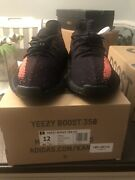 Adidas Yeezy Boost 350 V2 Kanye Core Black Red Stripe Bred By9612 Size 12