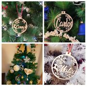 Personalized Name Ornaments Custom Christmas Baubles Set, Wooden Hanging Persona