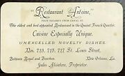 Antique Antoineand039s Restaurant New Orleans Business Card 1890s Signed Alciatore