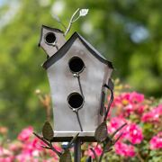 Large Double-hole Bird House Stake With A-frame Roof In Silver Yard, Garden