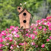 Large Double-hole Bird House Stake With A-frame Roof In Copper Yard, Garden