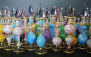 Variety, Egyptian Hand-blown Glass Perfume Bottles With 14 K Gold Set Of Five