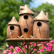 Rounded Triple Bird House Stake With Mushroom Cap Roof In Copper Yard, Garden