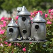 Rounded Triple Bird House Stake With Mushroom Cap Roof In Silver Yard, Garden