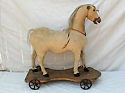 Antique Victorian Wood Platform Horse Pull Toy Large Size Fine Carving 24 3/4