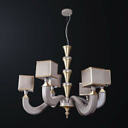 Chandelier Classic Wooden Teal And Brass To 6 Lights Bga 3171-3-3
