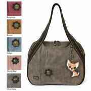 New Chala Bowling Zip Tote Large Bag Pleather Stone Grey Gray Chihuahua Dog Gift