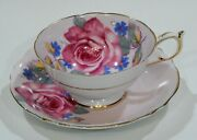 Rare Paragon Dark Pink Cabbage Rose Cup And Saucer On Pink Background C1940s