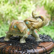 Natural Soapstone Collectible Trunk Up Elephant Statue Multi Stone Floral Décor