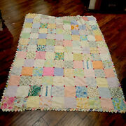 Vintage Cutter Crazy Feed Sack Fabrics Unmatched Square Blocks Quilt Zigzag Edge