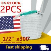 3 Strand Twisted White Marine Rope Boat Docking Anchor Line 1/2 Inch 300ft 2pack