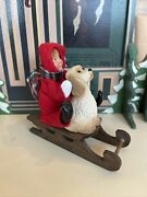 Byers Choice Cute Toddler On A Sled With His Dog