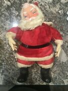 Vintage Santa Claus Rubber Face Stuffed Plush Christmas Toy Doll Antique 19andrdquo