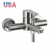 Sus Wall Mount Tub Shower Faucet Bath Faucet Brushed Nickel Mixer Tap For Bath