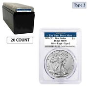 Lot Of 20 - 2021 W 1 Oz Silver American Eagle Type 2 Pcgs Ms 70 Fs West Point