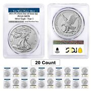 Lot Of 20- 2021 W 1 Oz Silver American Eagle Type 2 Pcgs Ms 70 Fdoi West Point