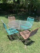 1960s Ames Aire Midcentury Modern Corded Patio Set - Four Chairs And Table