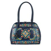 Anuschka Tuscan Tiles Navy Hand-painted Leather Satchel Cb Strap And Id Card Nwt