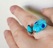 Rare Carved Snake Ring Turquoise Red Coral 14k Gold Antique Or Vintage Ring