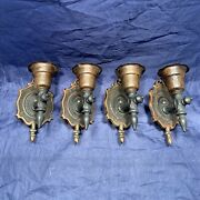 Set Of Four Petite Antique Arts And Crafts Bronze Wall Candles 117c