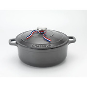 French Enameled 7.1 Qt. Round Cast Iron Dutch Oven In Caviar Grey With Lid