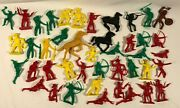 Vintage Lot Of Cowboys And Indians Western Toy Plastic Figures Tim Mee