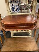Antique Victorian English Brown Tan Leather Jewelry Trinket Box Desk Caddy