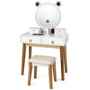 Costway Vanity Dressing Table Set Touch Screen Dimming Mirror Bluetooth Speakers
