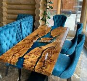 Handmade Wooden Epoxy Resin Blue River Dining Table Made Solid Wooden Slab Decor