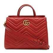 Guccigg Marmont Handbag Shoulder Bag Diagonal Seat 2way Quilted Leather Red