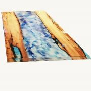 Handmade Epoxy Blue Resin River Dining Center Coffee Table Top Housewarming Gift