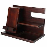 Wood Wallet Watch Holder Stand Bedside Table Mobile Phone Organizer For Bedroom