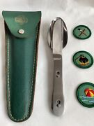 Vintage Schrade Girl Scouts Mess Kit Camp Set In Leather Pouch + 3 Badge/patches