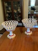 Rare Antique Pair Of French Old Paris Porcelain Compotes Collamore
