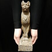 Pharaonic Egyptian Antique Antiques Egypt Antiquities Figurine Cat Statue -f380