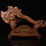 Chinese Boxwood Wood Carved Loong Dragon Head Wishful Ax Axe Wood Cutting Tool