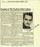 Predicted Hitler's Rise To Power Louis Snyder Signed Newspaper Article Coa