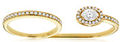 Large .72ct Diamond 14kt Yellow Gold Round And Oval Filigree Double Finger Ring