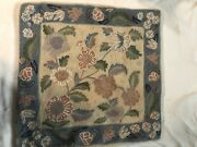 Vintage Pair Bloomingdales Wool Fully Embroidered Crewel Floral Pillow Covers