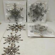 Balsam Hill Antiqued Snowflake Ornament Set Of 12 Bead And Wire Ornaments Open