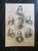 1884 Civil War Print - The Members Of Abraham Lincoln's First Cabinet - Frame It