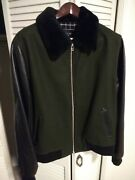 Nwt - Outclass 30th Anniversary Aviator Bomber Jacket Olive/black Menand039s Xl