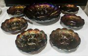 """Northwood """"peacock And Urn"""" Amethyst Carnival Glass Berry Ice Cream 6 Bowls Set"""