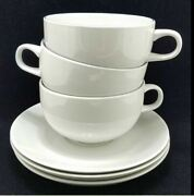 Royal Copenhagen Blue Line 3074 Flat Cups And Saucers, 2 1/4 Set Of Three