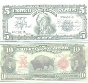 Pair 5 Silver Certificate Indian Chief 1899 And 10 Us Note Bison 1901