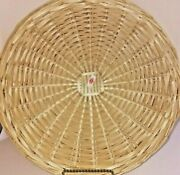 4 Large Wicker Rattan Straw Bamboo Paper Plate Holder 13.5