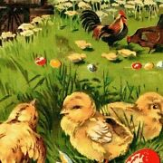 Antique Germany Easter Chicks Postcard Eggs Chicken Rooster Mill Vintage