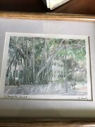 Signed R.e. Kennedy Print The Banyon Tree Key West Framed Matted