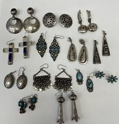 Native American Mixed Lot Sterling Silver, Turquoise And Coral 13 Pairs Of Earring